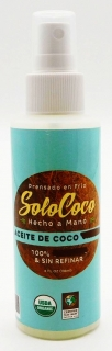 118 ml Spray bottle SoloCoco HandCrafted Coconut Oil, 100% Organic, Fair Trade,